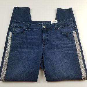NWT INC Novelty Denim Skinny Sequin Detail Size 16